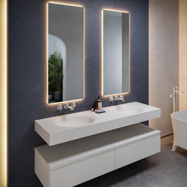 Oval - DuPont™ Corian® Wall Mounted Double Washbasin
