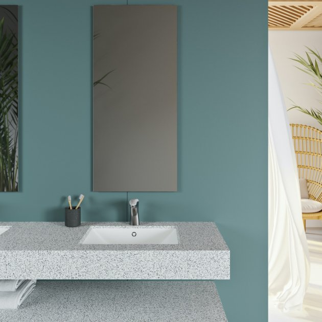 Refresh - Corian® Colour Wall Mounted Double Washbasin