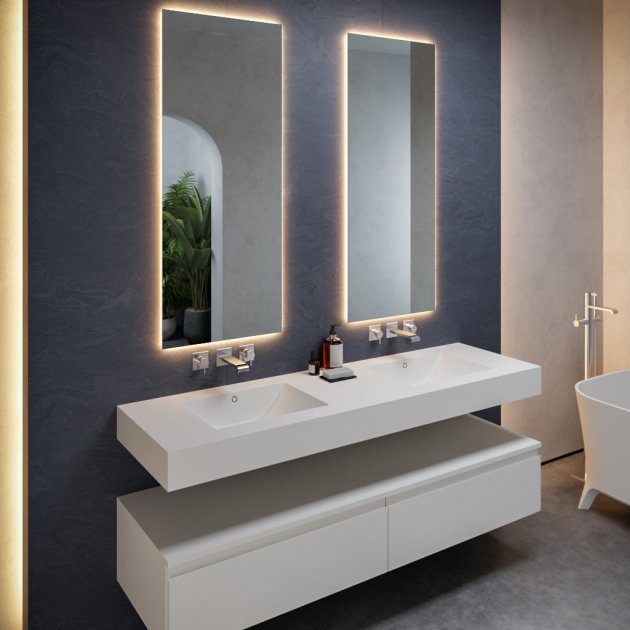 Refresh 7420 - DuPont™ Corian® Wall Mounted Double Washbasin - All Sizes