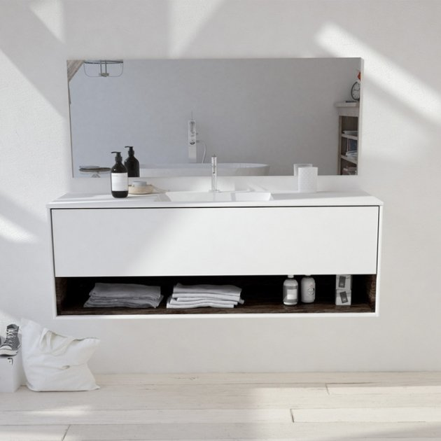 Refresh Carthage - Wall Mounted DuPont™ Corian® Vanity Unit 1 drawer