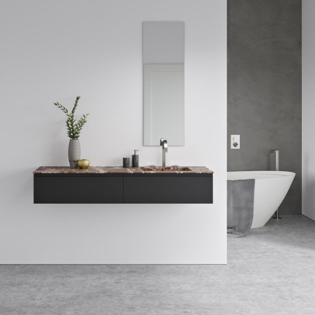 Alabama Rosso Levanto - Marble Vanity Top Single Washbasin