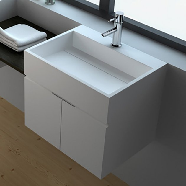 Rosy - Wall Mounted Solid Surface Vanity Unit