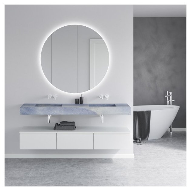 Seattle Blue Macauba - Marble Wall Mounted Double Washbasin