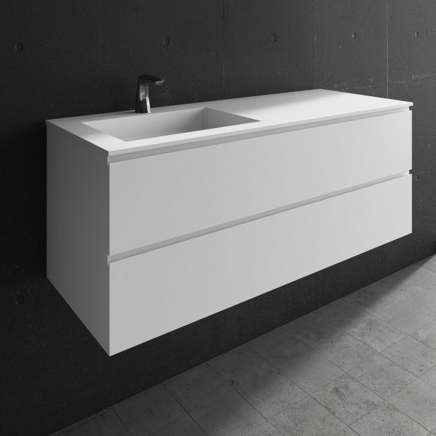 Square - Wall Mounted DuPont™ Corian® Vanity Unit 2 drawers