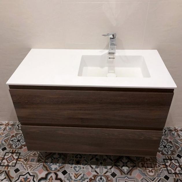 Mobile Sospeso in legno con Lavabo Square in Corian® - 2 cassetti