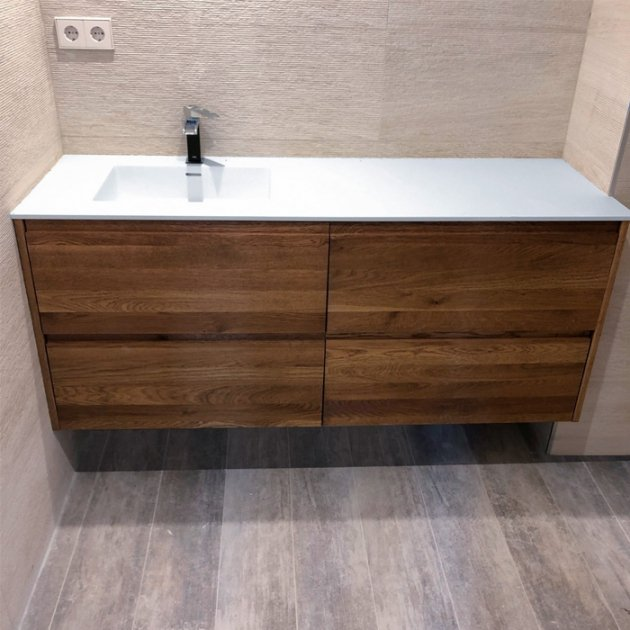 Square - Wall Mounted Corian® / Solid Oak Vanity Unit