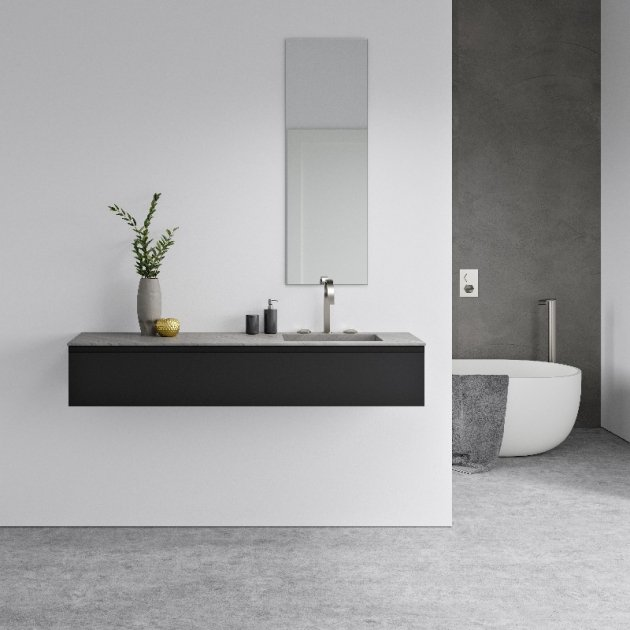 Square Bardiglio Imperiale - Marble Vanity Top Single Washbasin