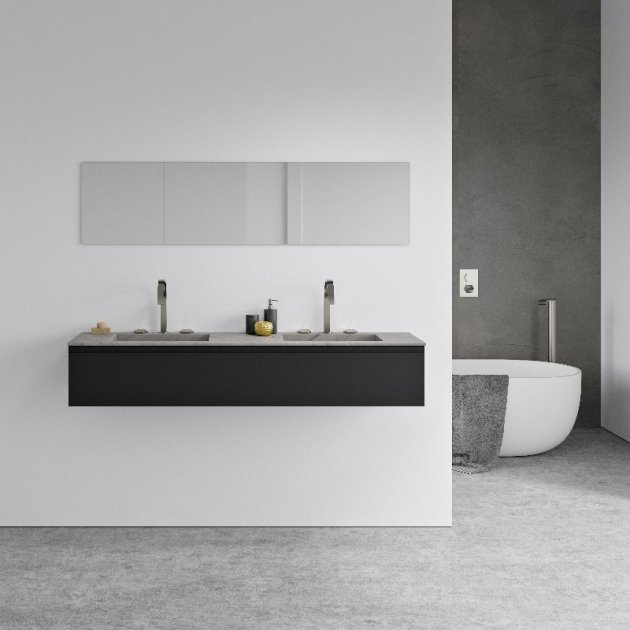 Square Bardiglio Imperiale - Marble Vanity Top Double Washbasin