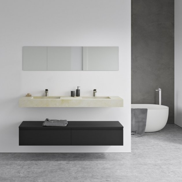 Square Crema Marfil - Marble Wall Mounted Double Washbasin
