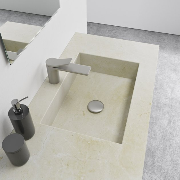 Square Crema Marfil - Marble Wall Mounted Washbasin