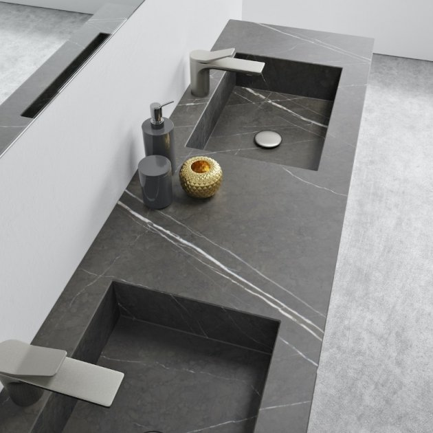 Square Grey Ara - Marble Wall Mounted Double Washbasin