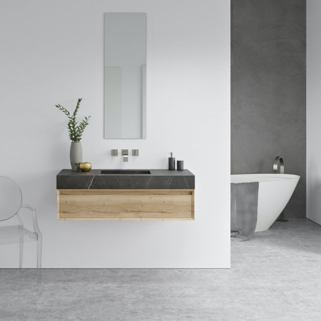 Square Grey Ara - Marble Wall Mounted Washbasin