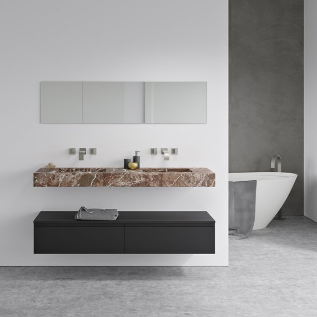 Square Rosso Levanto - Marble Wall Mounted Double Washbasin