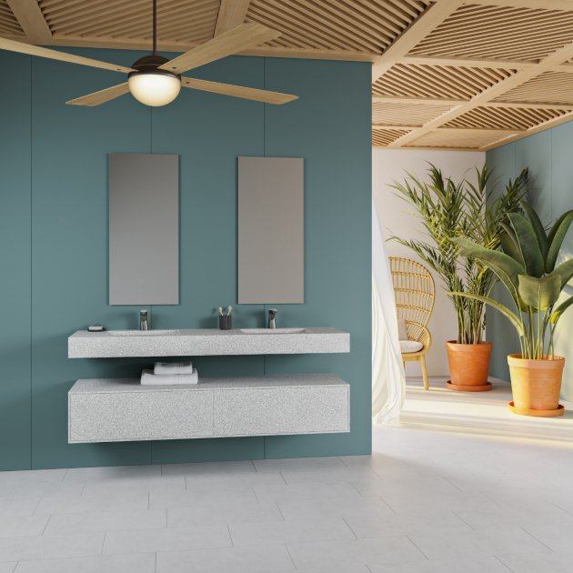Tennessee - Corian® Colour Wall Mounted Double Washbasin