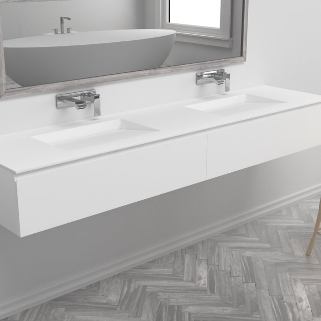 Tennessee - Double Washbasin Wall Mounted DuPont™ Corian® Vanity Unit 2 Drawers