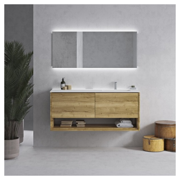 Corian® Glacier White Tennessee Solid Oak Carthage - Wall Mounted DuPont™ Vanity Unit