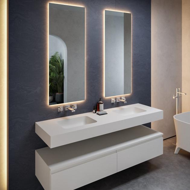 Toronto - DuPont™ Corian® Wall Mounted Double Washbasin 200x50cm