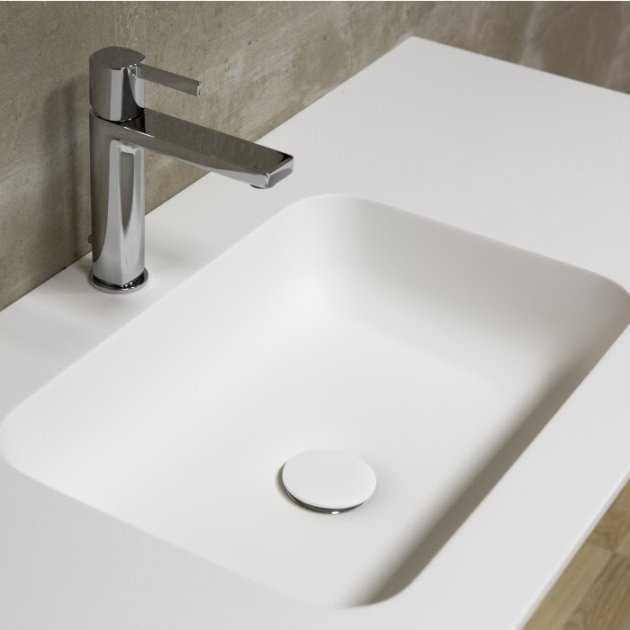 Toronto Carthage - Wall Mounted Double Washbasin Corian® Vanity Unit 2 drawers
