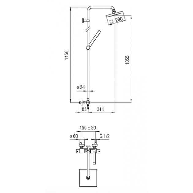 Wall Mounted Shower Tap - TG85330/31CR