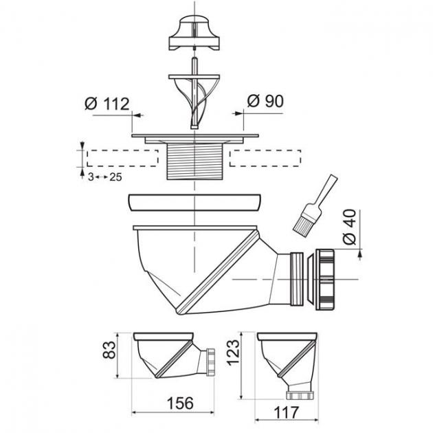 Shower Tray Waste - Wirquin Ø90 mm