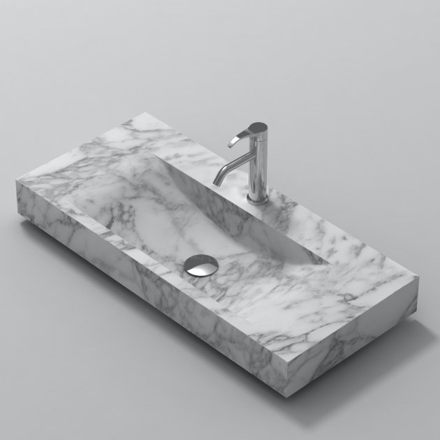 White Carrara S1 100cm - Marble Countertop Washbasin