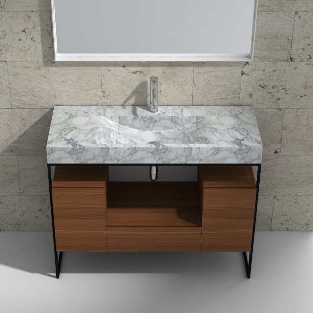 White Carrara S1 120cm - Marble Countertop Washbasin