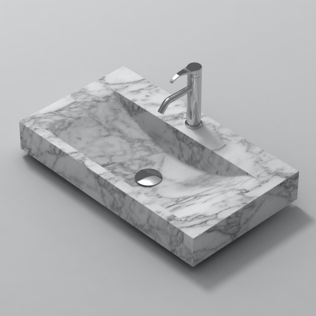 White Carrara S1 80cm - Marble Countertop Washbasin