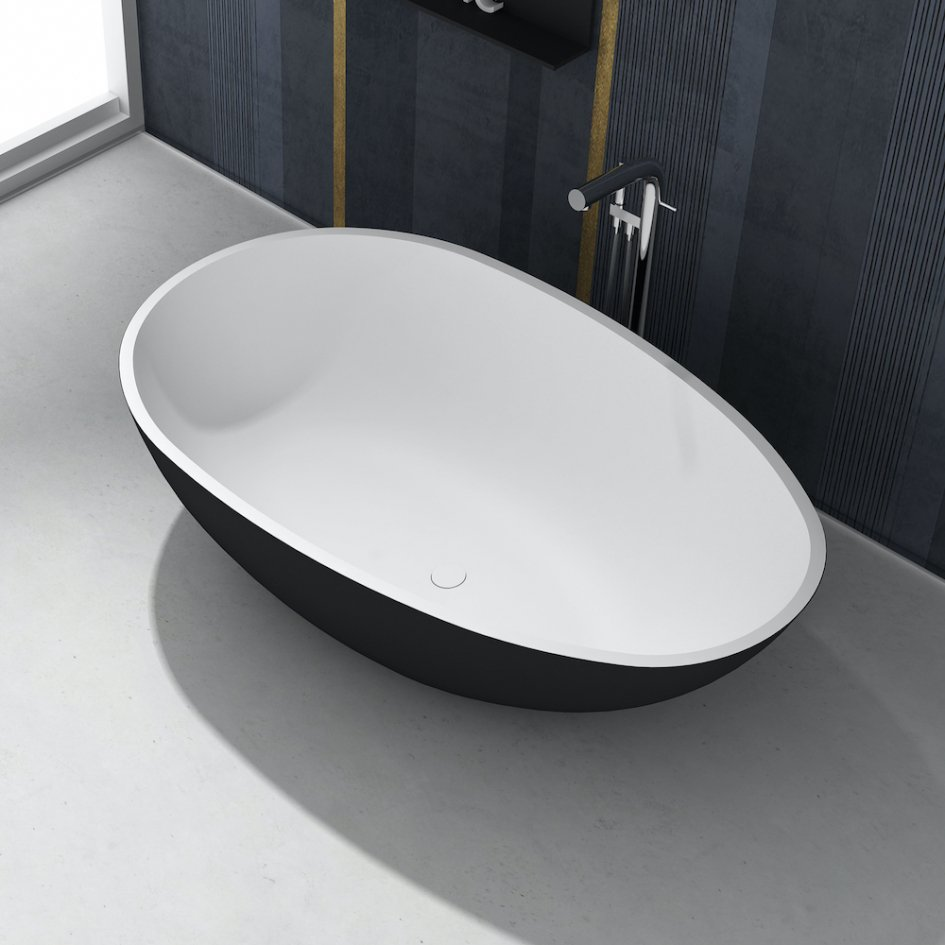 Toulouse Black White Freestanding Solid Surface Bath 178cm
