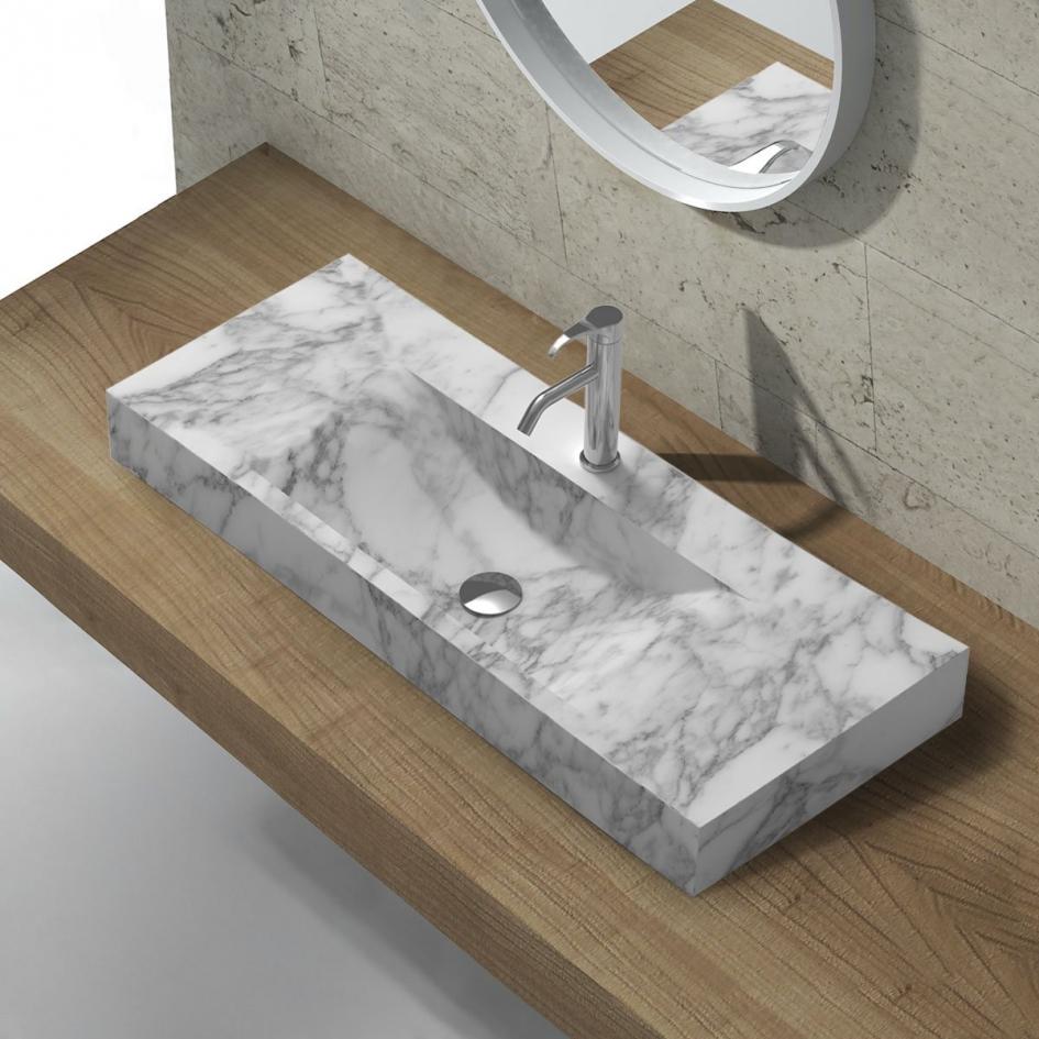 S1 White Carrara Marble Countertop Washbasin 120cm