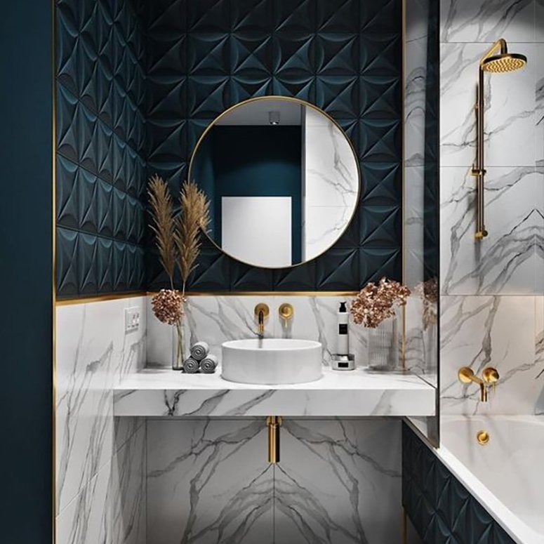 Which tiles go best with marble bathrooms?
