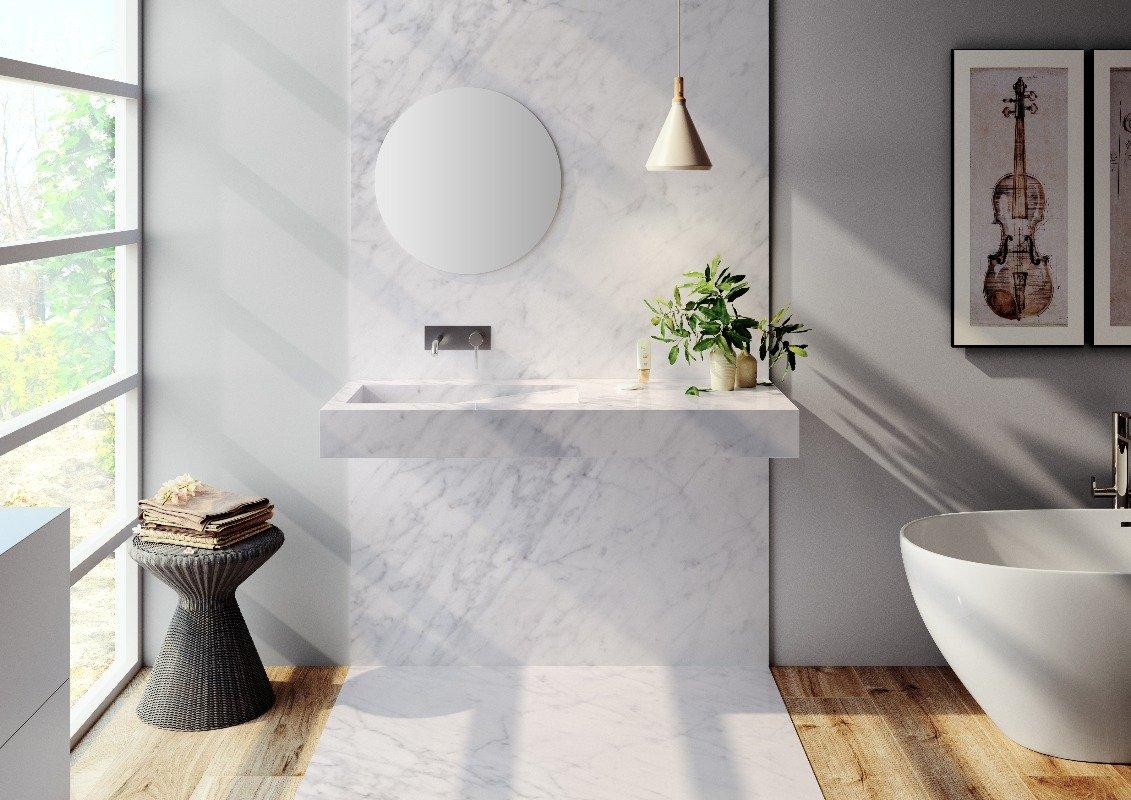 carrrara marble washbasin in luxury riluxa bathroom