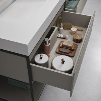 Meuble EOS en MDF laqué sur base métallique 2 tiroirs + Double Vasque Corian®