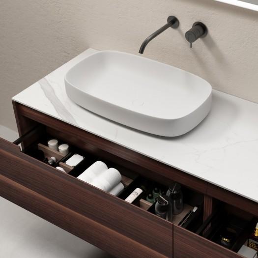 ALFA Ensemble salle de bain - Meuble à suspendre 3 tiroirs avec Lavabo à poser + 1 miroir LED à écran tactile