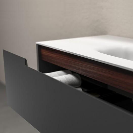 ALFEON Ensemble salle de bain - Meuble-Vasque sur pied avec 2 tiroirs + 1 miroir LED