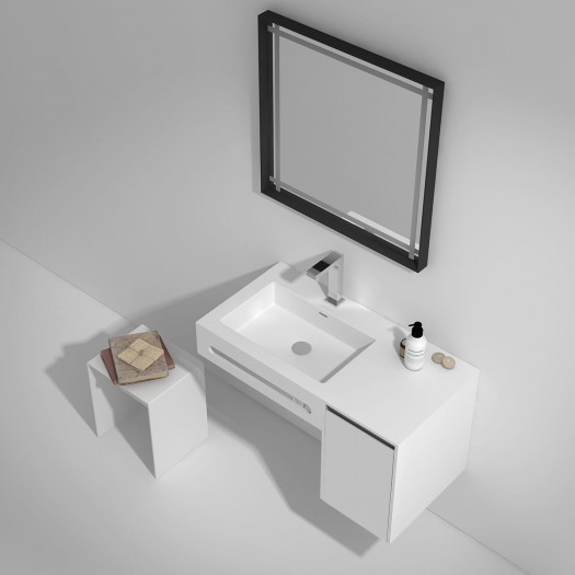 Meuble-vasque Alicia - 1 porte à droite + porte-serviette