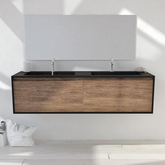 Ensemble Meuble Gaia Edge Corian® Colour et Chêne Massif + Double Vasque Toronto - 2 tiroirs
