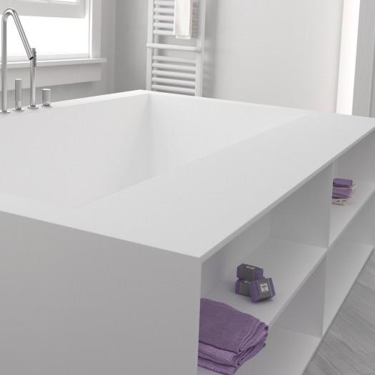 Baignoire sur mesure en Corian® + étagères intégrées