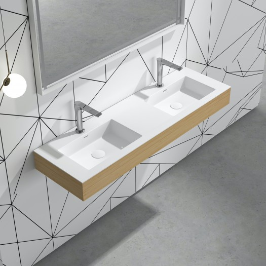 Lavabo à suspendre Bamboo Double en Solid Surface