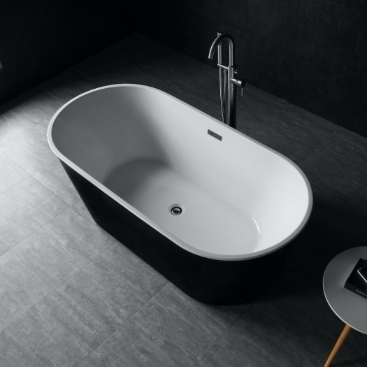 Baignoire ilot Bruges noire et blanche - 160cm
