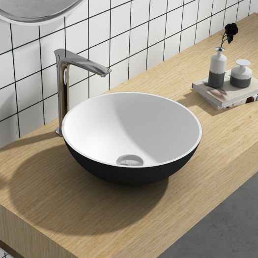 Lavabo à poser en Solid Surface Cardo Black & White