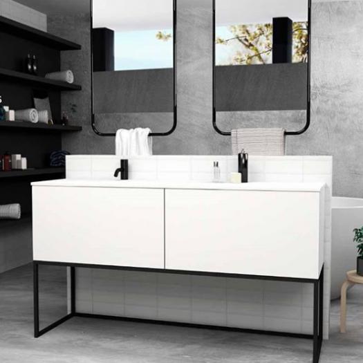 Meuble Combi sur base métallique 2 tiroirs + Plan Vasque Corian®