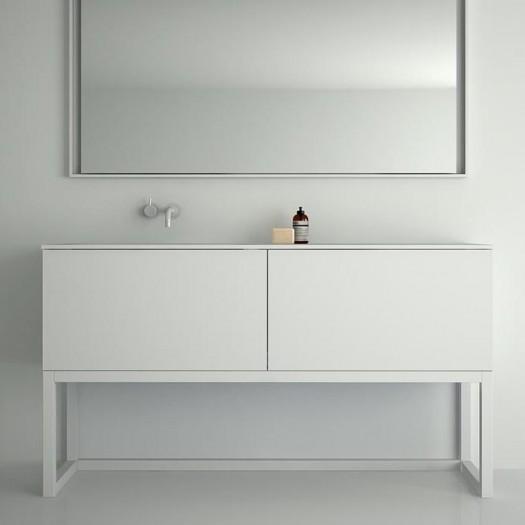 Meuble Combi sur base en bois 2 tiroirs + Plan Vasque Corian®