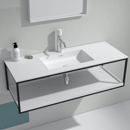 Meuble-vasque Copenhagen en Solid Surface - 1 étagère