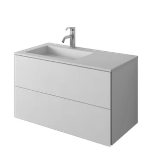 Meuble-vasque Denia en Solid Surface - 2 tiroirs