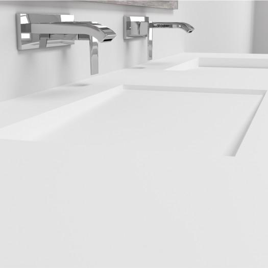 Ensemble Double Vasque Corian® Canada + Meuble 2 Tiroirs alignés