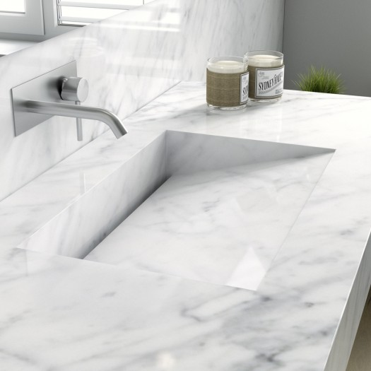 Double vasque en Marbre Authentique Carrara C1