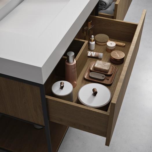 Meuble EOS en chêne massif sur base métallique 2 tiroirs + Double Vasque Corian®