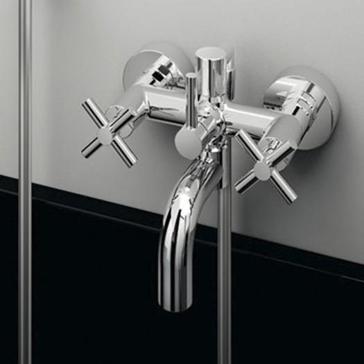 Mélangeur bain/douche mural avec inverseur et raccord flexible Fir - 35.3400.0
