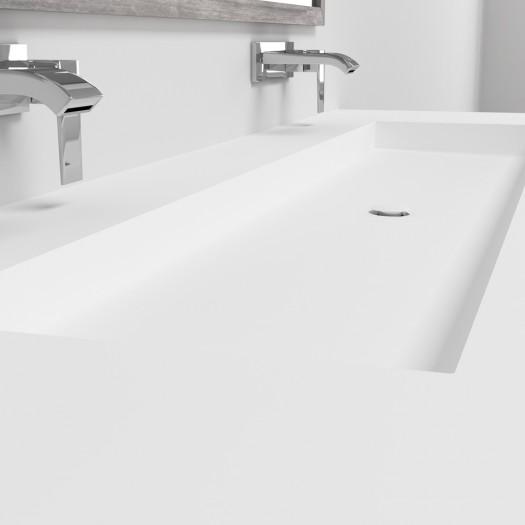 Ensemble Double Vasque Corian® Indiana + Meuble 2 Tiroirs alignés
