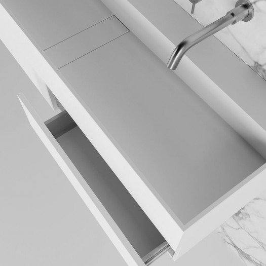 Meuble-vasque Ixora en Solid Surface - 2 tiroirs